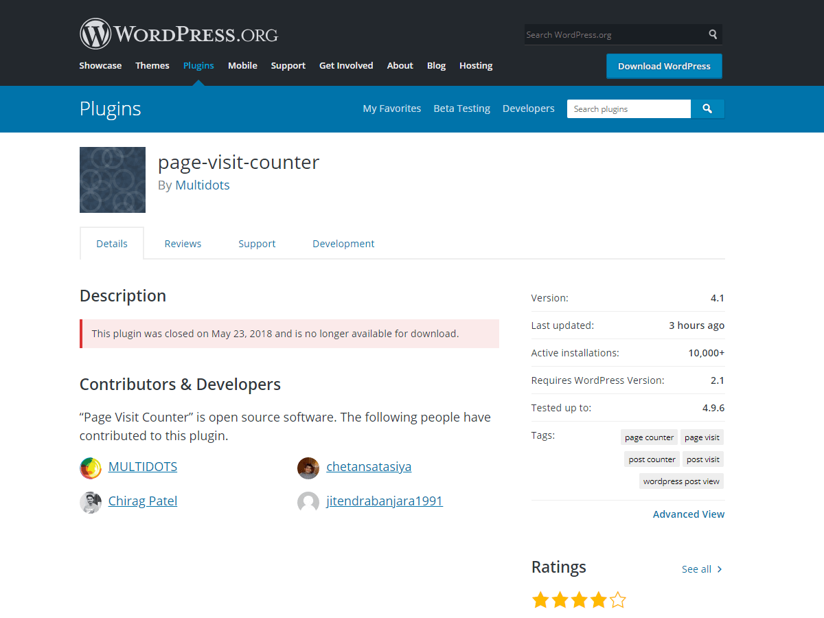 Closed WordPress plugins by Multidots
