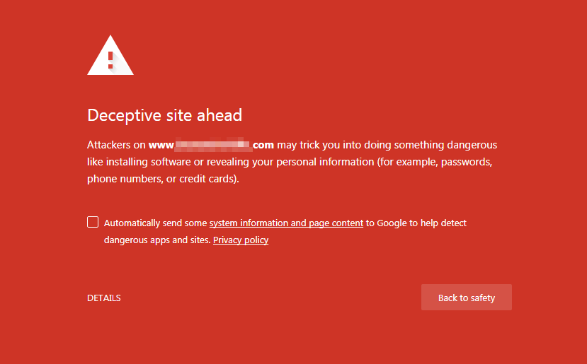 Deceptive site ahead - Google Safe Browsing alert