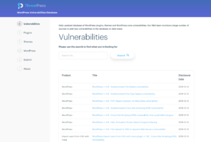 WordPress Vulnerabilities Database API